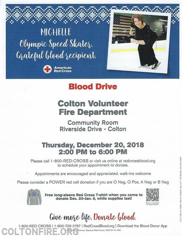 Red Cross Blood Drive - Colton Volunteer Fire Department